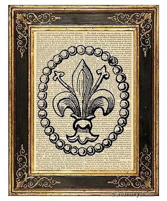 Fleur de Lis #1 Art Print on Vintage Book Page Home Hanging Decor French Lily