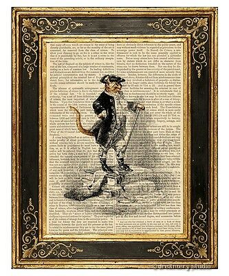 Puss in Boots Art Print on Antique Book Page Vintage Illustration Master Cat