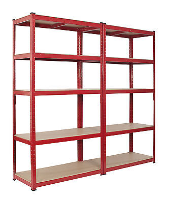 2 Bay Shelving Unit Heavy Duty 5 Tier Shelf Steel Racking Double