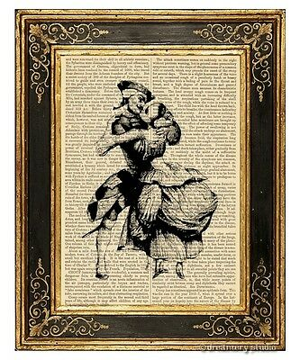Kissing Art Print on Antique Book Page Vintage Illustration Lovers Romantic