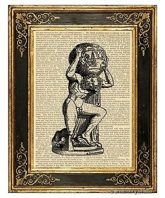 Atlas Art Print on Antique Book Page Vintage Illustration Greek Mythology Titan