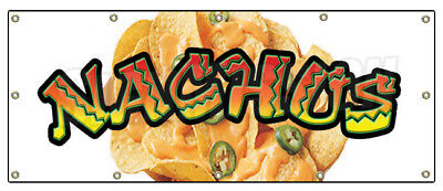 """48""""x120"""" NACHOS BANNER SIGN cheese chips cart stand signs Mexican food tex mex"""