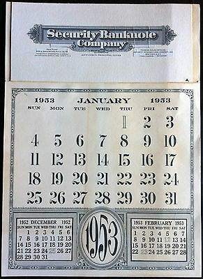 SECURITY BNCo. 1953 CALENDAR PRODUCTION (18) COMPLETE - UNIQUE PAHV73