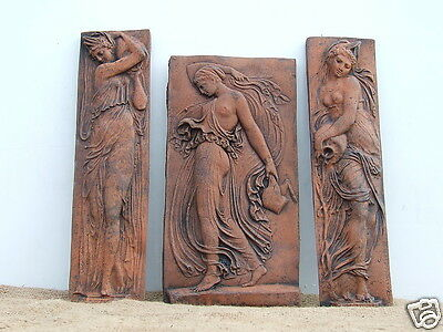 3 Decorative classical stone wall plaques depicting female figures in relief