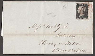 Gb #1 On 1840 Cover Bn7640