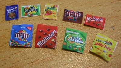 9x miniature packs of modern sweets chocolates kit 1:12th dolls house shop DH15