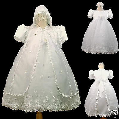 NEW INFANT GIRL & TODDLER CHRISTENING BAPTISM FORMAL DRESS white new born- 30 M