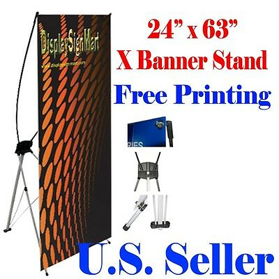 """X Banner Stand 24"""" x 63"""" Free Graphic Print Trade Show Display Free Bag Pop Up"""
