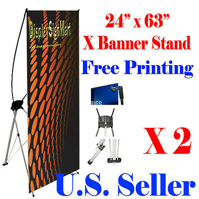 "2 Pc X Banner Stand 24"" x 63"" Free Graphic Print Trade Show Display Free Bag"