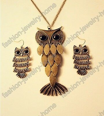 fashion a pair ancient bronze lovely owl earrings
