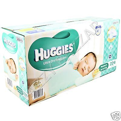 Huggies Ultra Dry Nappies Newborn 224 Disposable Newborn Baby Boy Girl Nappy