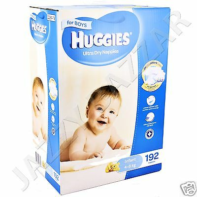 Huggies Ultra Dry Boys Nappies Infant 192 Disposable Size 4 to 8 kg JUMBO PACK