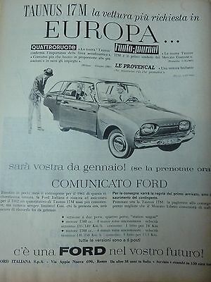 Advertising Pubblicita'   Ford  Taunus 17M   1961