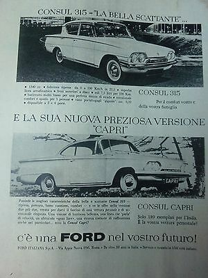 Advertising Pubblicita'   Ford  Consul 315  E Capri    1961