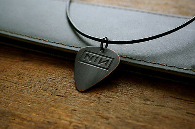 Hand Made Etched Copper Guitar Pick Necklace with Nine Inch Nails NIN