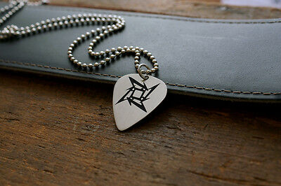 Hand Made Etched Nickel Silver Guitar Pick with Metallica Ninja Star