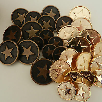5 x Gilt star  metal buttons sizes 15mm 20mm or  22mm  gold or bronze