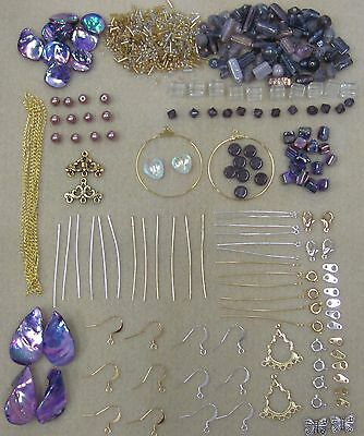 New Purple Bead Kit with Silver & Gold Tone Findings & Free Beading Instructions