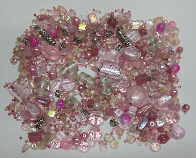 Pink Bead Mix Foil, Glass, Silver Metal, Pearl Lampwork Mixed & Assorted Beads