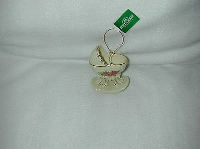 Christmas Victorian Rose Carriage W/ Rocker Style Bottom Porcelain Ornament-New