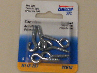 "National Mfg. N118-257 SMALL SCREW EYES, size #208, 1-3/8"" zinc plated steel"