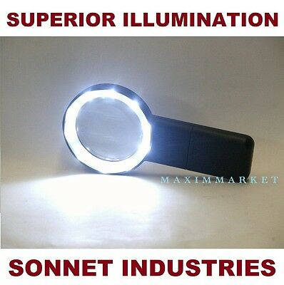 """5X LED Illuminated Hand Held Pocket Magnifier with 2-3/4"""" Glass Lens"""