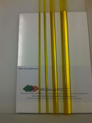 Yellow Tinted Acrylic PMMA Perspex Round Rod Solid Bar Transparent Colour 500mm