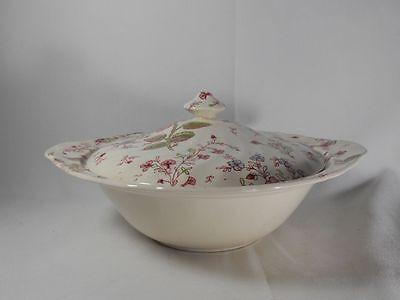 Johnson Brothers Rose Chintz-Pink Older Stamp Round Covered Vegetable Bowl