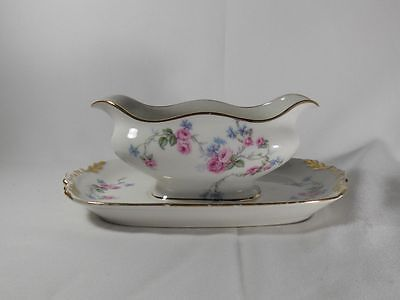 Limoges France LIM10 Rectangular Gravy Boat with Attached Underplate