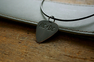 Hand Made Etched Copper Guitar Pick Necklace with AC/DC