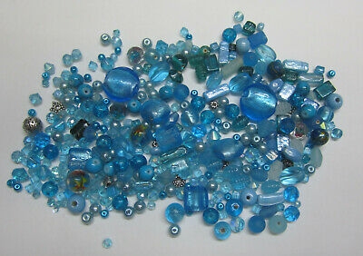 Beautiful Blue Bead Mix Foil Glass Metal Pearl Lampwork & Mixed Assorted Beads