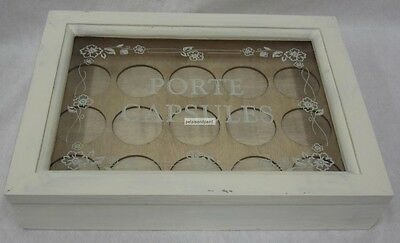 Rustic French Provincial Distressed Antique Cream Wooden Box For Coffee Pod Pods