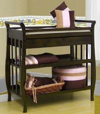 Solid Hardwood 3 Tiers Drawer & Baby Infant Changing Table W/ Pad 3353 Nadia New