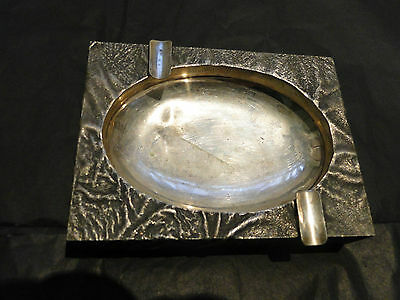 Ashtray 800 Standard Sterling Silver Italy Circa 1950, Cast Astetic Desgn Marked