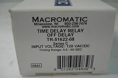 New Macromatic Tr-51622-08 Time Delay Relay