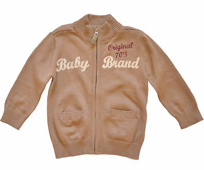 French tapealoeil baby boy brown cotton cable knit cardigan Size 6M/9M/18M/23M