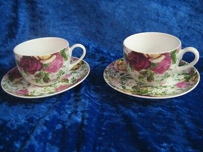 Royal Albert Country Roses Chintz 2 Cups & Saucers