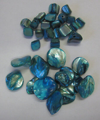 32 Pieces Shell Bead Kit Chunky & Cube Beads In Blue For Jewellery Making TAR251