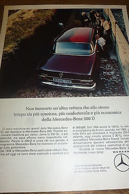 *advertising Pubblicita'  Mercedes-Benz 200 D -  1966
