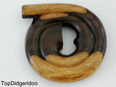 "SPIRAL SNAIL Emazing 62"" @ 12"" Compact DIDGERIDOO+Bag Handcarved swirl Sono wood"