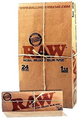 Raw Classic Rolling Paper 1 1/4 Full Box 24 Packs Natural Hemp Unbleashed 1.25