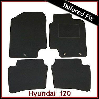 Hyundai i20 Mk1 2008-2014 3-eyelets Tailored Fitted Carpet Car Floor Mats BLACK