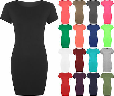 Plus Ladies Bodycon Stretch Short Sleeve Dress Womens Plus Size Long Top 16 - 20