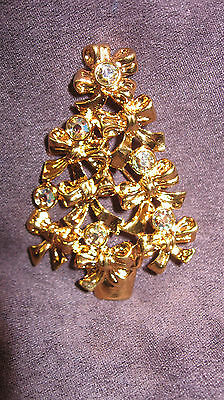 "AVON christmas tree pin brooch Goldtone with Six Crystal Rhinestones ""BOW TREE"""