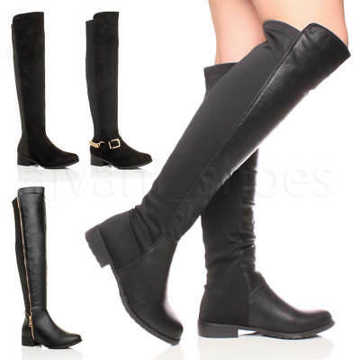 Womens Ladies High Over The Knee Elastic Stretch Pull On Low Heel Boots Size