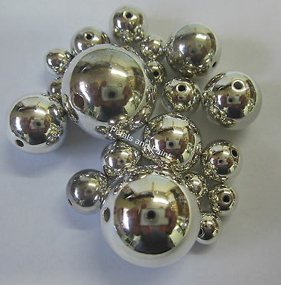 20 Acrylic Beads Shiny Silver Ball Mix Jewellery Making & Childrens Craft TAR032