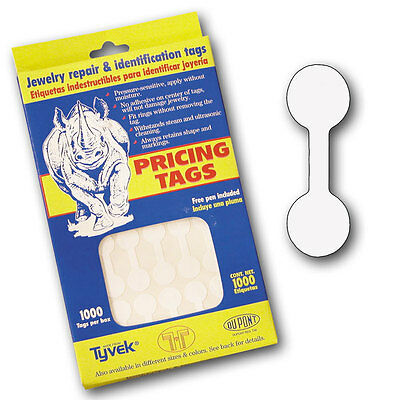 1000 Tyvek Dumbell Ring Price Pricing Tag Jewelry repair & ID Tag with FREE Pen
