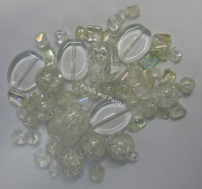 42 Glass Crackle & Bead Mix In Clear Beads For Beading & Jewellery Making TAR059
