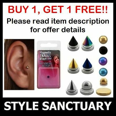 Fake Tragus Stud Clip-on Magnetic Earring Helix Ear Ring Bar Jewellery Piercing