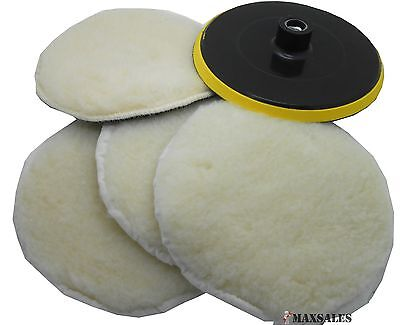 "7"" POLISHER/BUFFER SOFT WOOL BONNET & PAD with HOOK & LOOP for POLISHING/BUFFING"